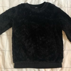 Black fluffy heart indented sweater